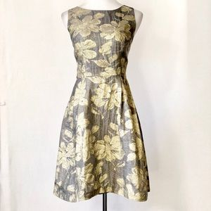 Lotus Grace Fit and Flare Floral Metallic Dress